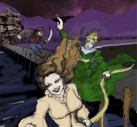 Drawing of Bisland and Bly escaping pirates in Hong Kong.