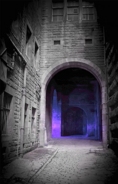 dark alley with purple light