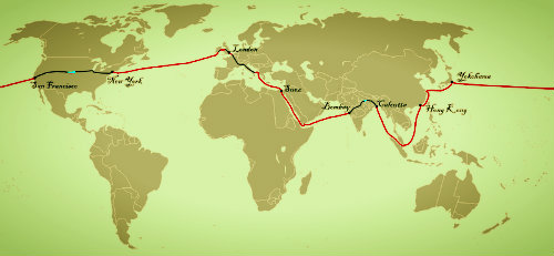 Map of the course from Around the World in 80 Days.