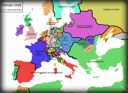 Map of Europe, 1648. Image: Wikipedia. - Racing Nellie Bly-Famous ...