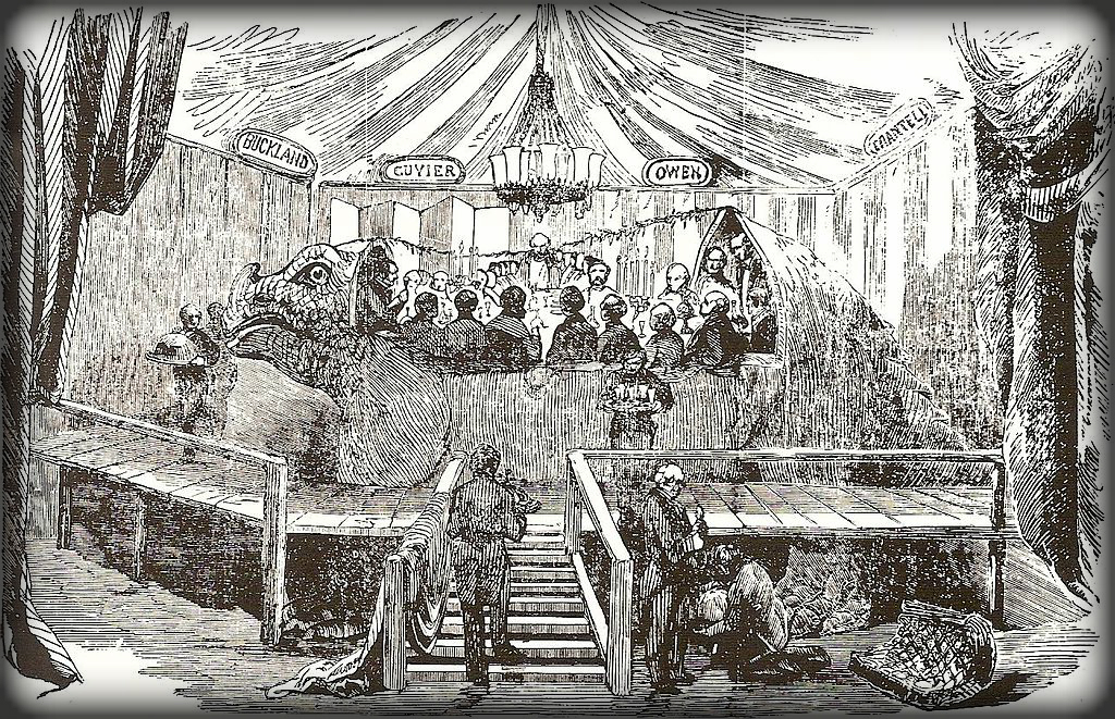 Victorian New Year's Eve Party In The Belly of The Iguanodon, 1853.