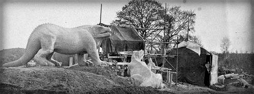 Crystal Palace Iguanodons. Photo: Delamotte, 1854.