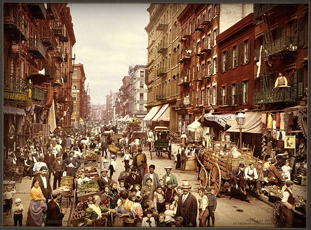 Victorian Era Photochrom Postcards: Mulberry Street in New York City. Image: Library of Congress.