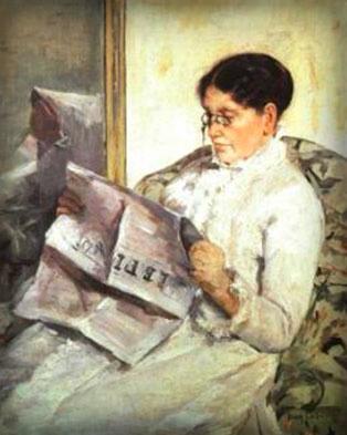 "Mary Cassatt: Reading ""Le_Figaro"", 1878. Image: Wikipedia."
