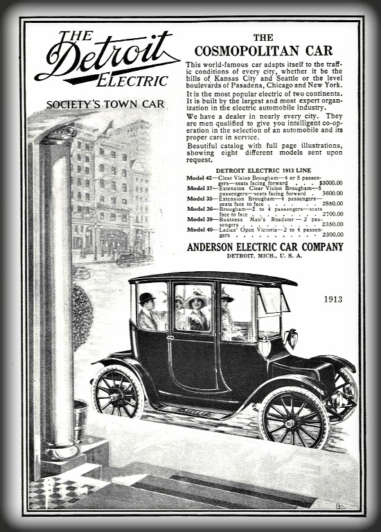 Victorian Era Electric Cars; Detroit Electric, 1913. Image: Public Domain.