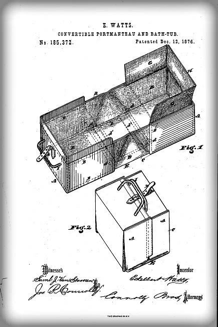 Portable Bath Patent, 1876. Image: Public Domain.