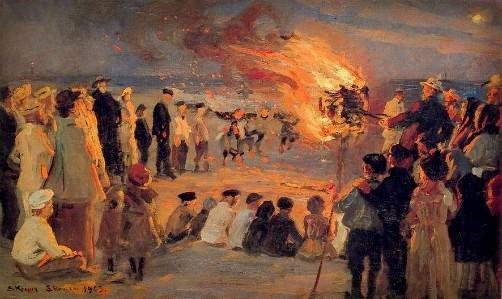 Peder Severin Kroyer: Midsummer Eve Bonfire on Skagen Beach, 1906, Image: Wikipedia.