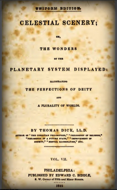 Celestial Scenery, Reverend Thomas Dick, 1838.