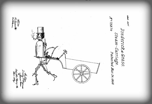 Victorian Era Robots; Steam Man Patent, 1868. Image: Wikipedia.