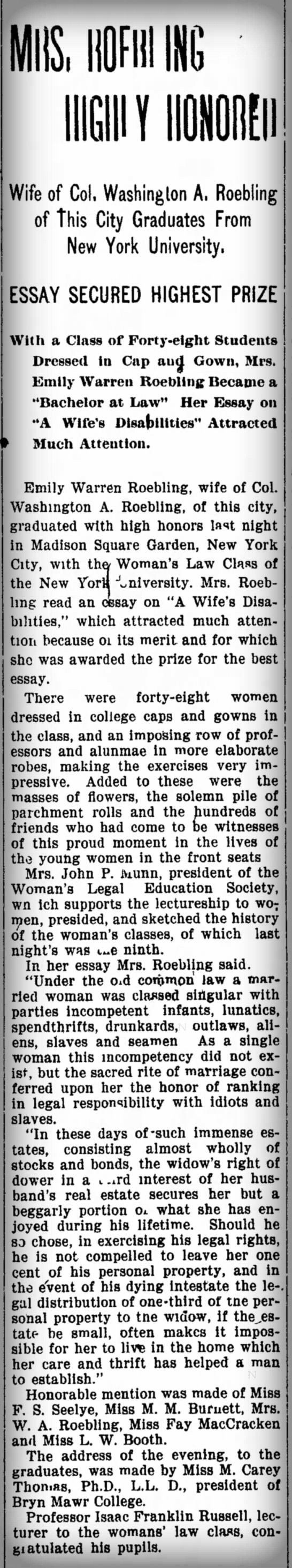 """Emily Warren RoeblingEssay: """"A Wife's Disabilities"""" March, 1899. Image: Trenton Evening Times."""