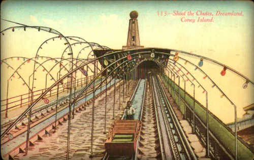 Coney Island Dreamland colored postcard looking up the track of theThe Chutes. Image: Library of Congress.