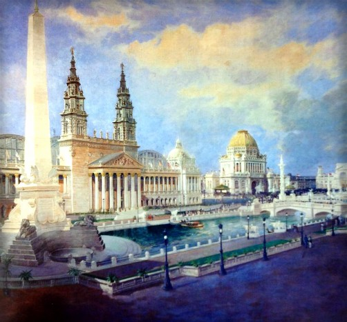 Columbian Exposition Lighting; View of Fair by Lewis Edward Hickmott. Image: Wikimedia.