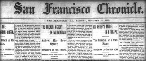 Pie Girl Dinner. Masthead San Francisco Chronicle, Oct. 1895. Image: Public Domain.