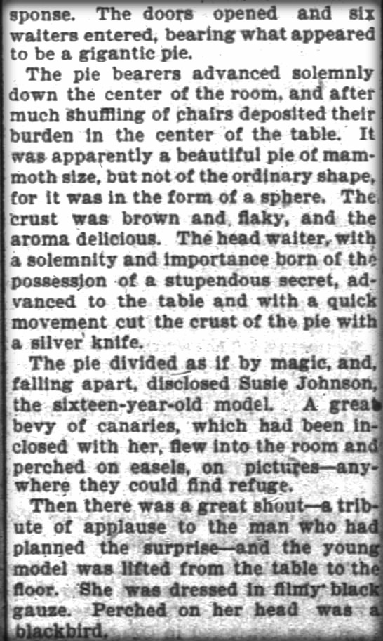 "Pie Girl Dinner Newspaper article clipping"" Pie Girl Dinner, San Francisco Chronicle, Oct. 1895. Image: Public Domain."