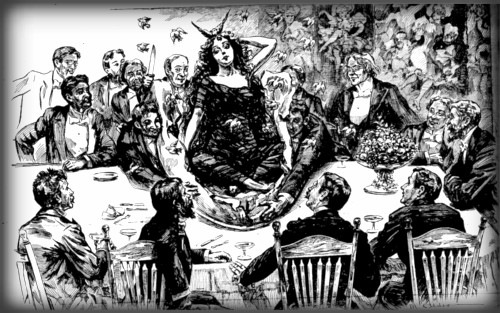 Pie Girl Dinner illustration with her Surrounded by Men in Tuxedos, Illustration, New York World, Oct. 1895. Image: Wikipedia.