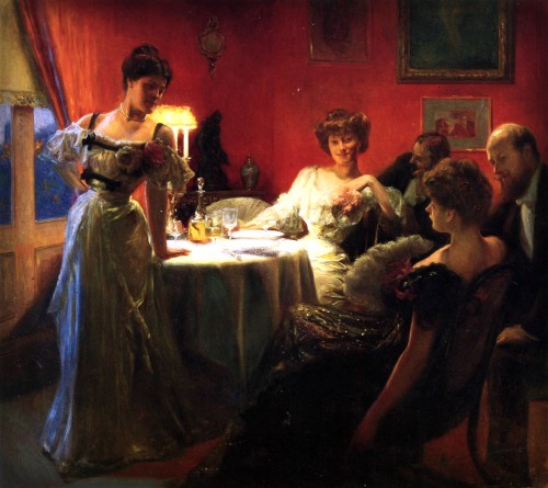 Julius LeBlanc Stewart painting of three Young Women and two men sitting around dinner table, 1903.