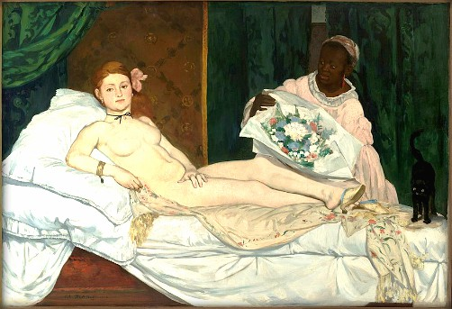 Two Manet Models: Painting of reclining nude and black attendant with bouquet. Olympia by Édouard_Manet, 1865 Musée d'Orsay. Image: Wikipedia.